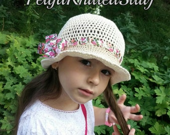 Crochet hat, Summer crochet hat, Baby Girl Hat, Crochet Girl's Hat, Handmade Hat, Cotton Crochet Hat, Hat with ribbon, Crochet Baby Girl Hat