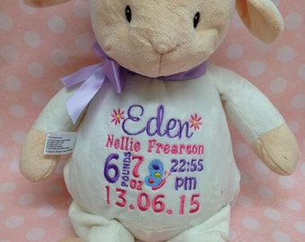 personalised with birth details lamb cubbie teddy
