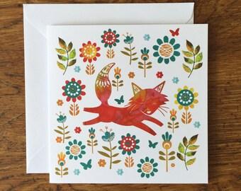 Scandinavian Fox Card