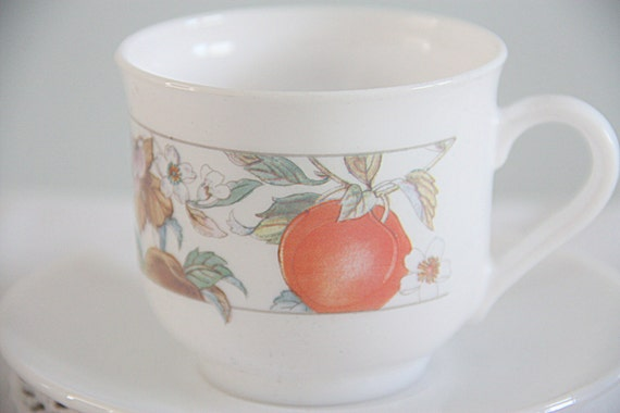 Set of Two Vintage Arcopal France Pyrex Cup and Saucers, Milk Glass with Fruit Design