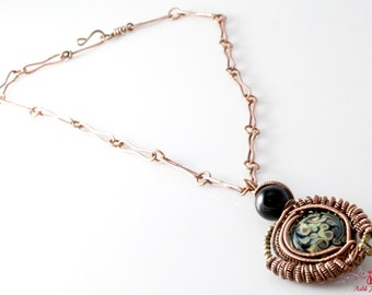 Handmade Copper Pendant & Chain With Black Onyx