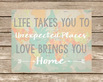 Love Brings You Home Wall Art Print in Various Sizes, Trendy, Home Decor
