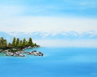 Lake Tahoe Painting, 16 x 12, Oil Painting, Original Art, Landscape Painting, Lake Painting, Mountain Painting, Blue Art, California Art