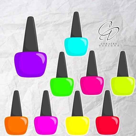 Neon Rave Nail Polish Clipart