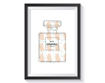 Chanel No.5 Art Print - A4 size | designer, perfume, pattern, illustration, peach, blue