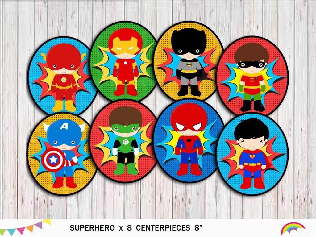 Superhero Centerpieces X 8 Superhero Party Decorations