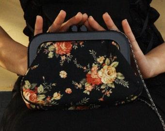 Vintage black floral beautiful bag,purse.