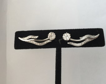 100% 925 Sterling Silver Wavy Flower Ear Cuff Earrings Embedded with Micro Pave.