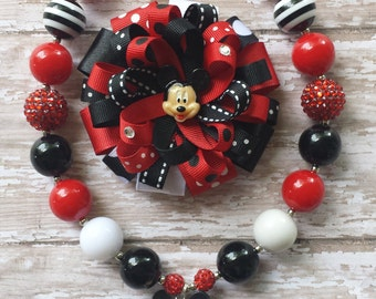 Mickey Hair Bows, Mickey Necklaces,Mickey Mouse Hair Bows,Mickey Mouse Necklaces,Red and Black Mickey Mouse Necklace with Matching Hairbow.