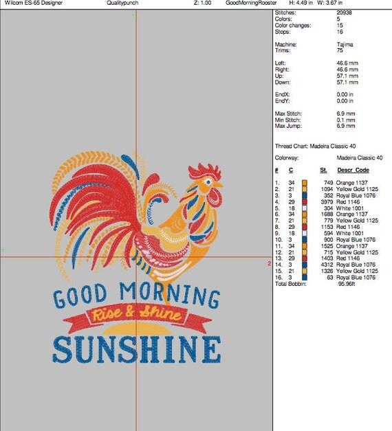 Shortstraw Good Morning Sunshine Zip : Quot t large ornate rooster good morning sunshine