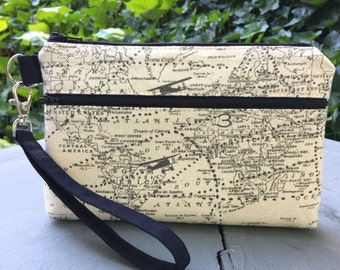 In Flight Map Wristlet Wallet; Zipper Pouch; iPhone 6 Plus/Samsung Galaxy Cell Phone Wristlet; Cell Phone Purse; Clutch