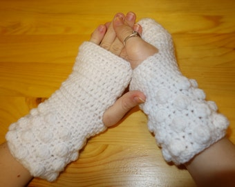 Crochet Fingerless Gloves, Snow White Arm Warmers, Wrist Warmers, Hand Warmers, Crochet Fingerless Mittens, Spring Arm Warmers, Gift For Her