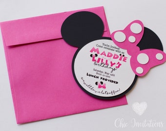 Minnie Mouse Invitation, Pink Minnie, Mouse Invitation