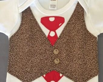 Sock Monkey Onesie, Tie and Vest Onesie, Short Sleeve or Long Sleeve Onesie