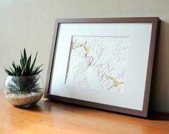 Ann Arbor Huron River Map Art - Topographic Layered Map - Handmade - Modern (Unframed)