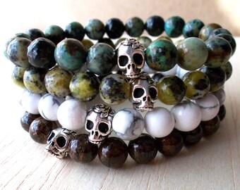 Mens Skull Bracelet Mens Beaded Bracelet Mens Personalized Bracelet, Skull Jewelry - Lapis Lazuli, Turquoise, Amethyst