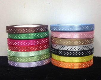 """25 Yards SWISS DOTS 3/8""""Inch Satin Ribbons 14 Different Colors selling per Roll"""