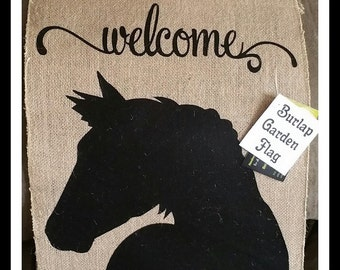 Welcome with Horse Head Silhouette Burlap Garden Flag Horse