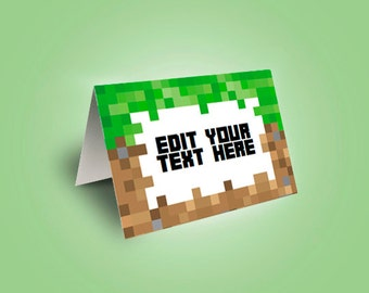 EDITABLE Minecraft Food Tent Cards, Food Labels, Minecraft Party, Instant Download, Printable