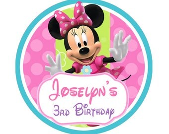 Minnie Mouse Bowtique Birthday round Stickers, Party Favor label