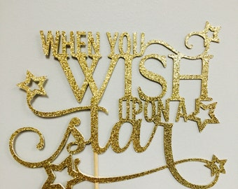 When you Wish Upon a Star glitter cake topper (choose your color)