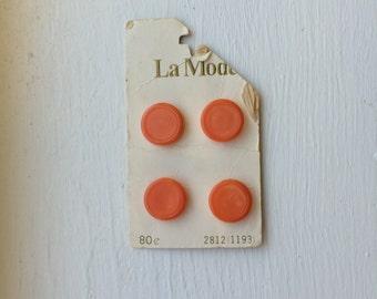 "Vintage 4 New Orange Round Buttons 5/8"" Plastic by La Mode"