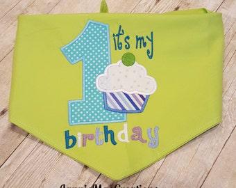 It's My 1st Birthday Embroidered Dog Bandana