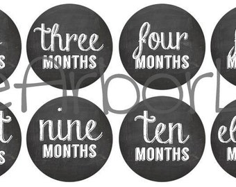 Baby Girl or Boy Month 2 Month Chalkboard Onesie Stickers, Baby Shower Gift