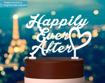 """Wedding Cake Topper - """"Happily Ever After"""" - WHITE - OriginalCakeToppers"""