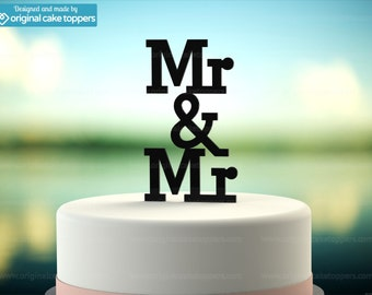 "Gay Wedding Cake Topper - ""Mr & Mr"" - BLACK - OriginalCakeToppers"