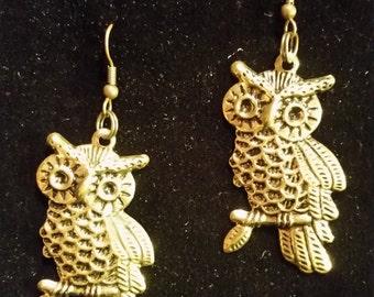 Gold-tone owl earrings