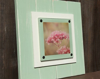 Wood Picture Frame -Handmade Cottage Wall Frame - Wooden Plank Frame - Shabby Chic - Shabby Wall Art - Handpainted Wood Frame