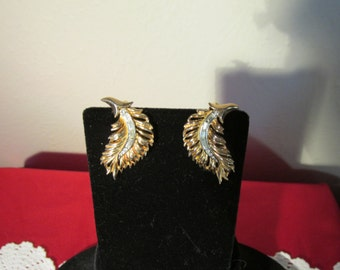 Vintage Leaf Earrings Rhinestone Clip On  by Triafari