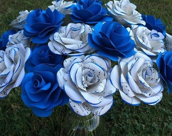 Paper flowers, sheet music roses,  loose stemmed flowers for diy bouquets,  wedding flowers,  colored paper roses, wedding centerpiece