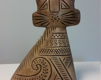 Hedi Schoop California Pottery Male/female Turnabout Cat, Mid-century Pottery