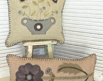 """pillow PATTERNS """" Burlap and Blossoms """""""