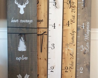 Kid's Pine Wood Growth Ruler/Chart/Stick - Customized with child's/family's name or inspirational quote