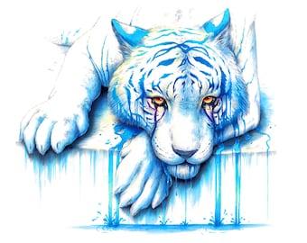 Blue Tears - Signed Art Print - Blue Tiger Painting by Jonas Jödicke