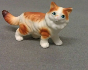 Genuine Bone China White Spotted Cat Figurine