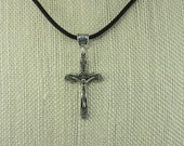 Cross Necklace, Crucifix Necklace, Nylon Cord necklace.Silver plated necklace, leather necklace