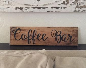 Coffee bar sign, coffee sign, rustic coffee bar sign