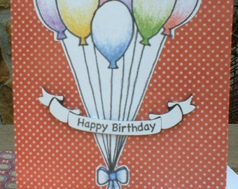 Red Ballons Birthday Banner Greeting Card