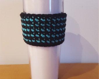 Striped Coffee Cozy Crocheted Handmade