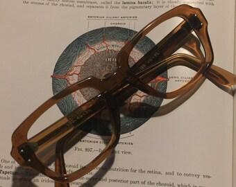 Vintage Amber colored large glasses frames