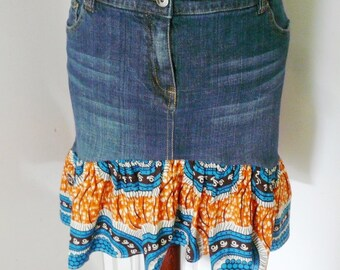 Mara Mini Orange and Blue Denim and Ankara Maxi Skirt, African Wax Print Maxi Skirt, Women's  Skirt - Size 16