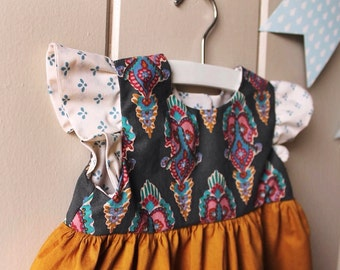 Upcycled Toddler Dress with Flutter Sleeves - 18 Months