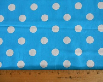 Turquoise with White Dots cotton fabric by the yard