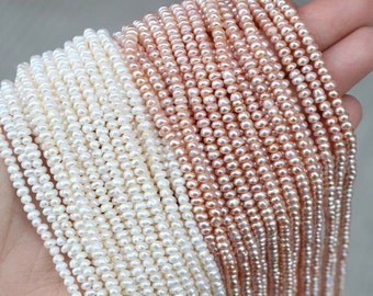Natural Pearl Rondelles, White/ Pink Freshwater Pearls 4*2mm Small Rondelle Beads Strands for DIY Jewelry Making (HX126)