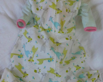 BABY SLEEP SACK  sleeveless flannel with colorful Giraffes - large only