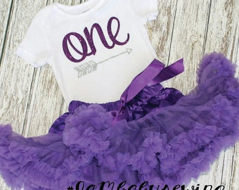 first birthday outfit, petti skirt, purple and white, purple, 1st birthday